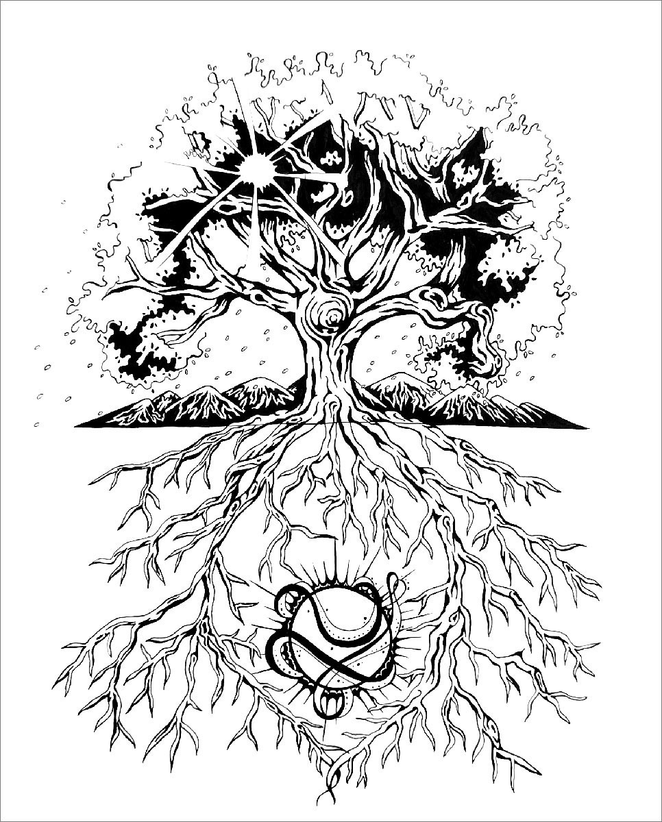 Pen and ink Tree of life drawing