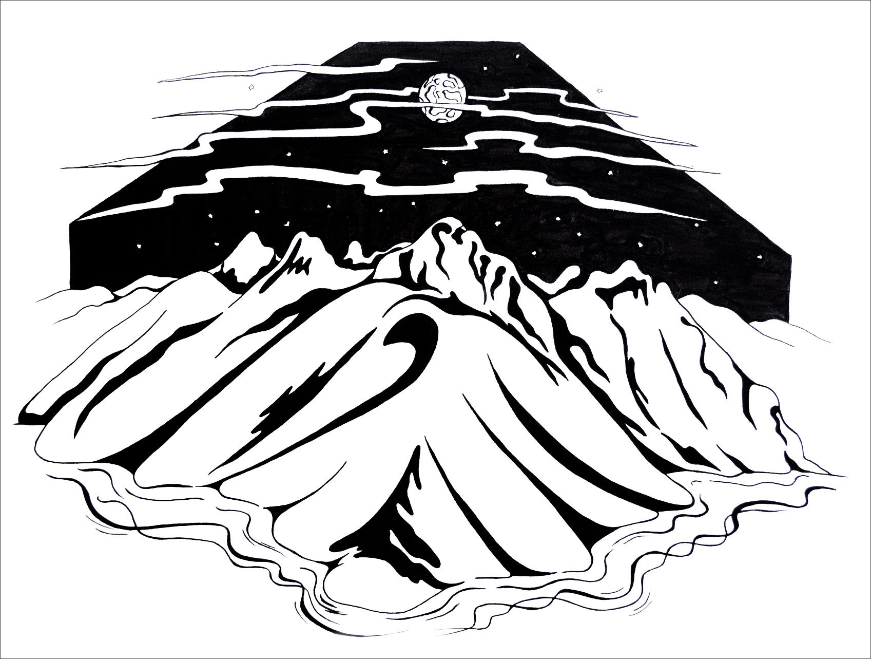 Pen and ink mountain drawing